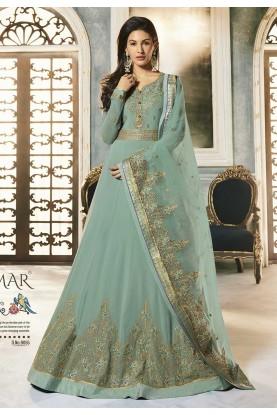 Turquoise Colour Anarkali Salwar Kameez.