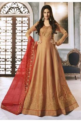 Peach Colour Georgette Anarkali Salwar Suit.