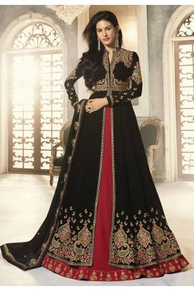 Black,Red Party Wear Anarkali Suit.
