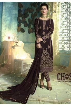 Wine Colour Party Wear Salwar Suit.