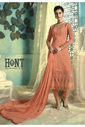 Peach Colour Georgette Salwar Suit.