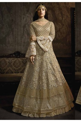 Golden Colour Designer Anarkali Suit.