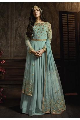 Turquoise Colour Anarkali Salwar Suit.