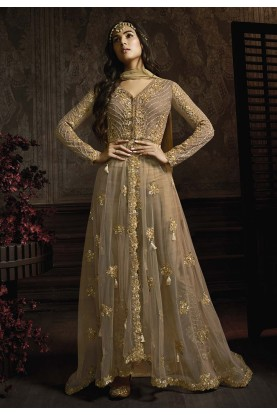 Beige,Brown Colour Designer Salwar Suit Net,Shantoon Fabric.