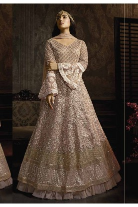 Pink Colour Net Anarkali Salwar Suit.