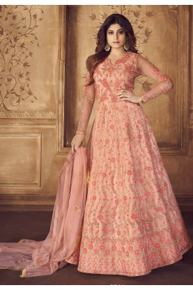 Peach Colour Embroidery Salwar Suit.