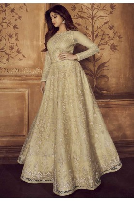 Designer Salwar Suit Beige Colour.