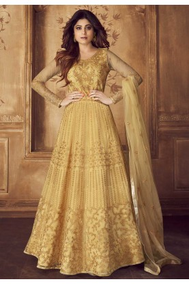 Golden Colour Net,Silk Designer Salwar Kameez.