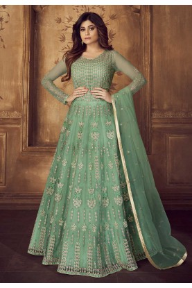 Green Colour Anarkali Salwar Kameez.