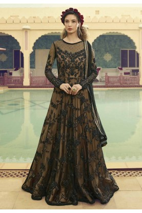 Black,Beige Colour Gown Style Designer Salwar Suit.