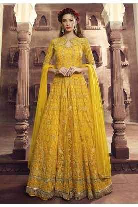 Yellow Colour Indian Designer Salwar Suit.