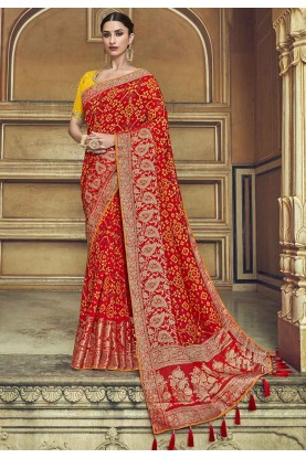 Red Colour Silk Designer Saree.