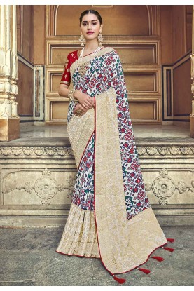 Off White,Beige Colour Silk Saree.