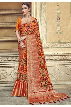 Orange Colour Traditional Saree.