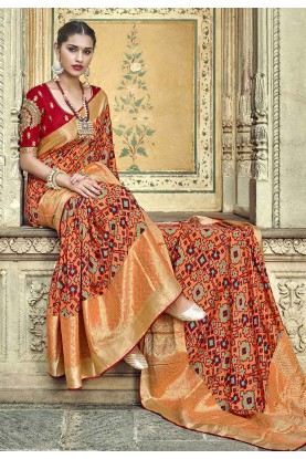 Orange,Peach Colour Designer Saree.