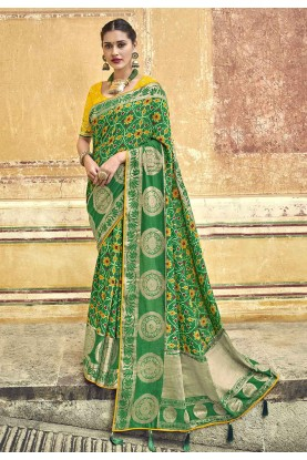 Green Colour Silk Indian Saree.