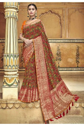 Maroon Colour Indian Traditional Saree.