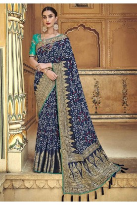 Blue Colour Silk Sari.