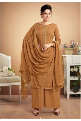Brown Colour Palazzo Salwar Suit.
