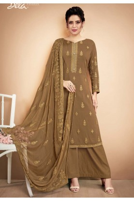 Brown Colour Women Palazzo Salwar Suit.