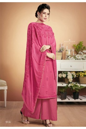 Exclusive Designer Palazzo Suit Pink Colour.