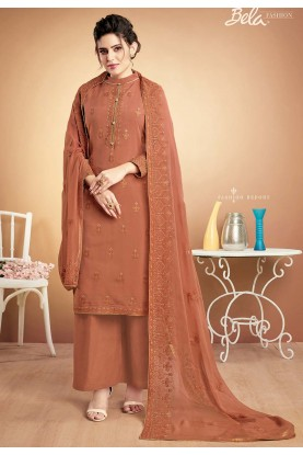 Rust Colour Cotton Salwar Suit.