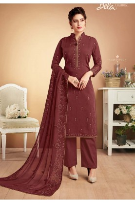 Maroon Colour Designer Palazzo Suit.