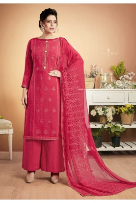Pink Colour Party Wear Palazzo Suit.