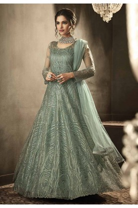 Green Colour Designer Anarkali Salwar Suit.