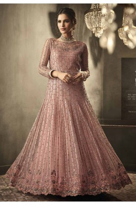 Pink,Peach Colour Party Wear Salwar Suit.