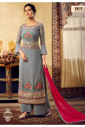 Grey Colour Designer Salwar Kameez.
