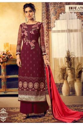 Maroon Colour Designer Palazzo Salwar Suit.