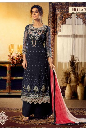 Blue Colour Georgette Party Wear Salwar Suit.