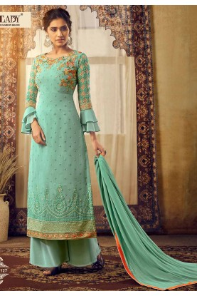 Turquoise Colour Embroidered Salwar Suit.