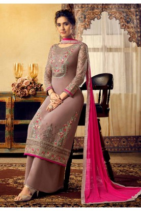 Designer Palazzo Salwar Suit Purple Colour.