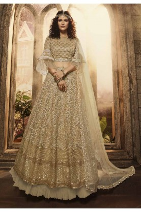 Beige,Golden Colour Wedding Lehenga Choli.