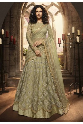 Green Colour Indian Designer Lehenga Choli.