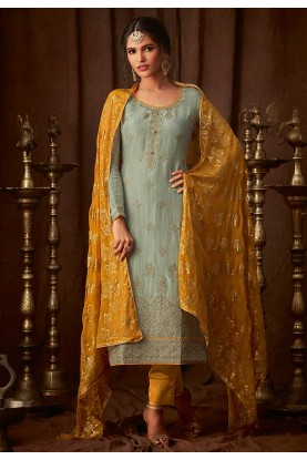 Sea Green Colour Party Wear Salwar Suit.