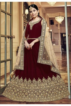 Maroon Colour Indian Wedding Salwar Kameez.