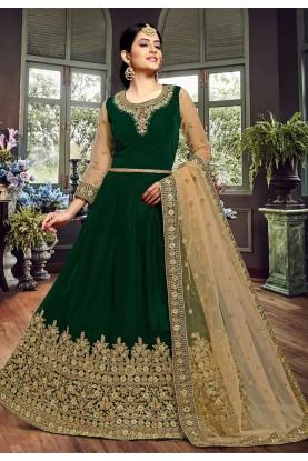 Green Colour Velvet Designer Salwar Kameez.