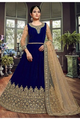 Party Wear Salwar Kameez Blue Colour.