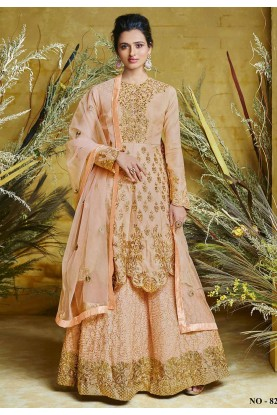 Peach Colour Silk,Net Party Wear Salwar Suit.