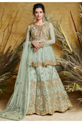 Indian Designer Salwar Kameez Turquoise Colour.