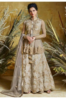 Brown Colour Anarkali Salwar Kameez.