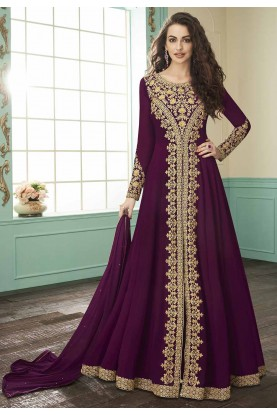 Wine Colour Party Wear Salwar Suit.