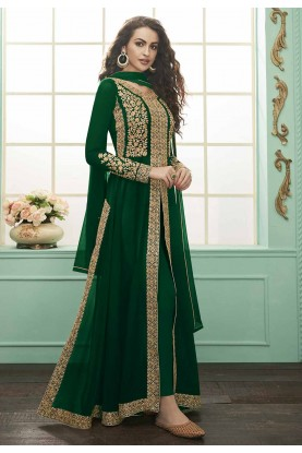 Georgette Designer Salwar Kameez Green Colour.