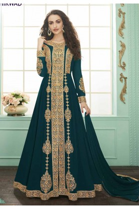 Teal Blue Colour Party Wear Salwar Suit.