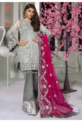 Grey Colour Net Salwar Suit.