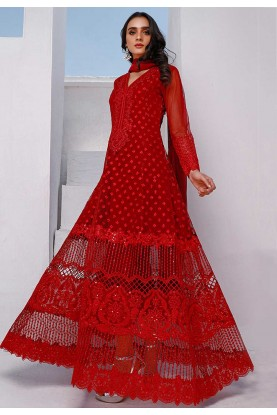 Red Colour Net Salwar Suit.