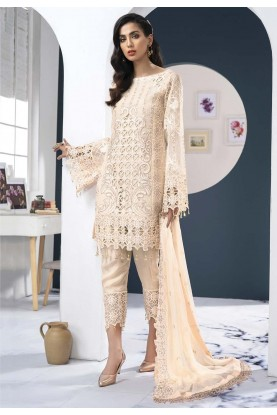 Cream,White Colour Georgette Pants Style Salwar Suit.